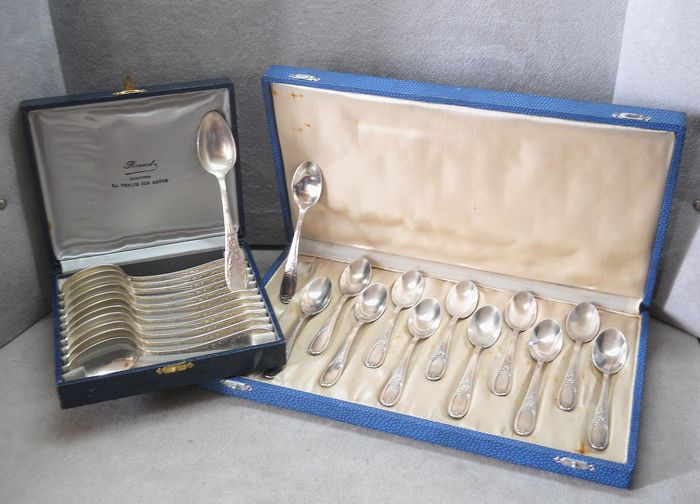 Joseph Buisson - Orbrille - double service teaspoons tea & coffee (24) - Silver plated