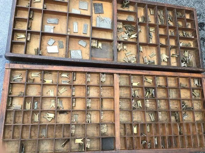 Used, 2 vintage letter trays with letters and templates - Wood Decorative Objects Brocante for sale