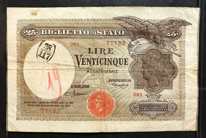 Italy - 25 lire 1923 - Gigante BS 22a - R3