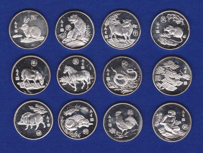 China - Set of 12 tokens 'Chinese Zodiac' silver plated