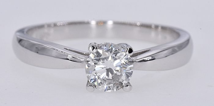 18 kt. White gold - Solitaire ring - 0.60 ct Diamond