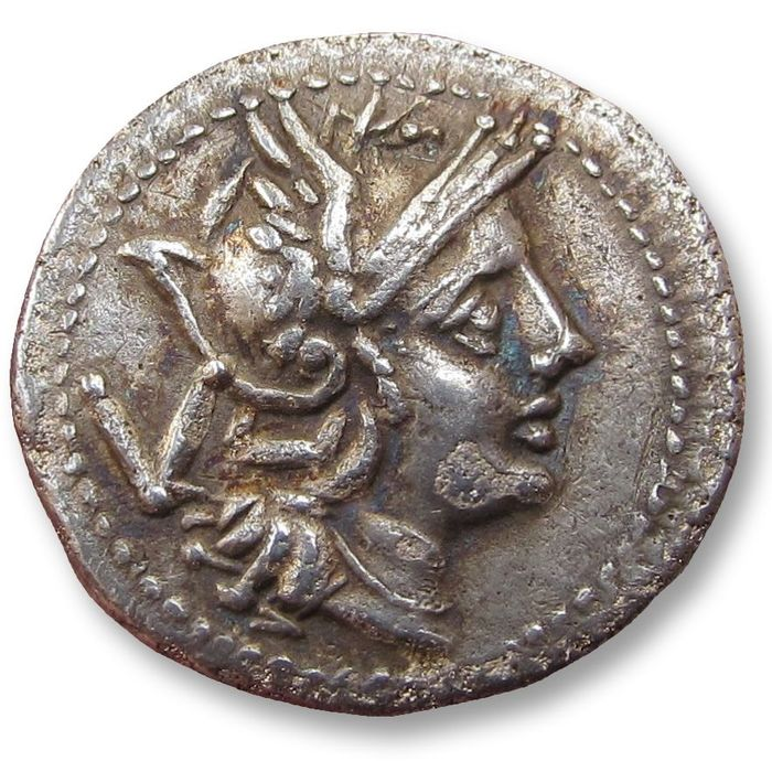 Romeinse Republiek - AR Quinarius, anonymous issue - early little Roman coin - Rome or Sicily circa 211-208 B.C. - Zilver