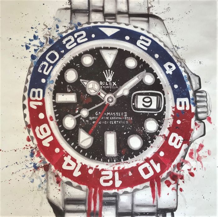 Rolex GMT-Master II Pepsi 16710BLRO  - Giclée art print on canvas linnen  'NO Reserve price'