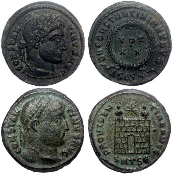 Empire romain - Two AE follis Constantine the Great (306-337) - Wreath (RIC Siscia 180) & Camp Gate (RIC Thessalonika 53)