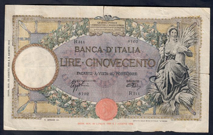 Italy, Italy - Kingdom of Italy - 500 Lire 1943 - Gigante BI 32A - R3