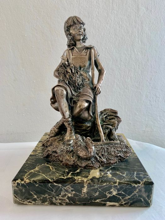 - - Figurine(s) - silver plated copper and marble