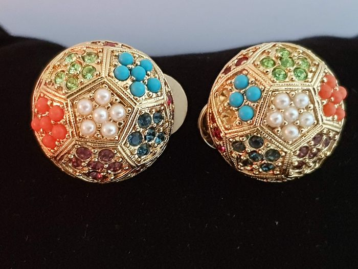 D'orlan  - exquisite multi colored seed beads vintage clip earrings