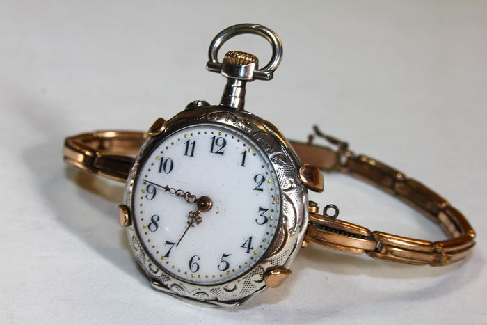 Gold, Silver - Exclusive Watch bracelet with watch - Art Nouveau late 1800s