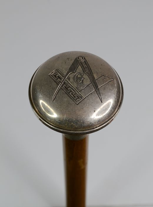 Masonic Walking Stick and Masonic Compass - Silverplate
