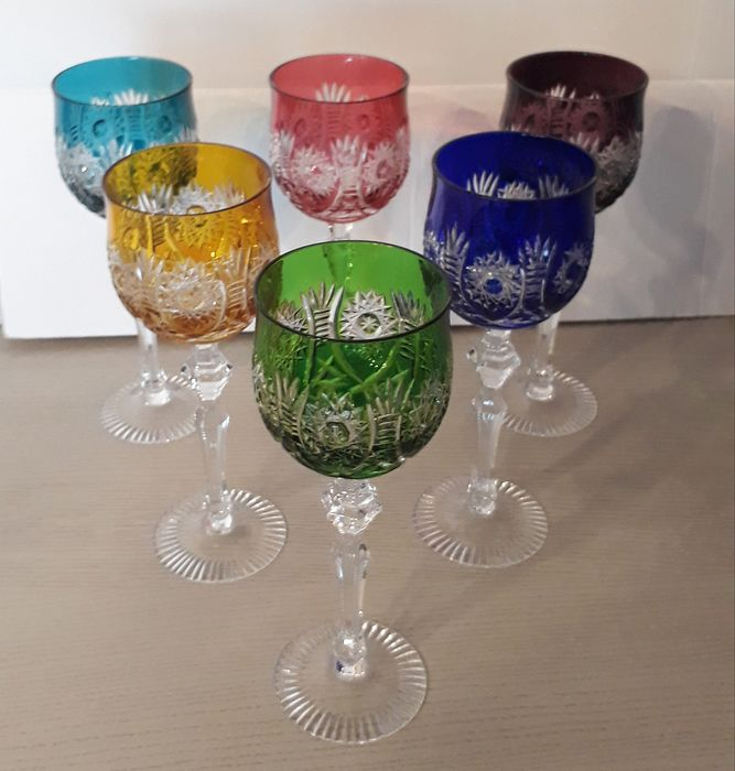 hand cut, crystal colored wine glasses (6) - crystal
