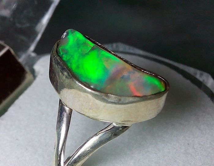 Good Quality Rough Crystal Opal -  925 Silver Ring - 3.6 g
