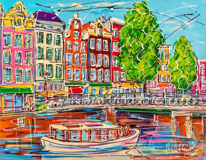 Mathias - Canal of Amsterdam, white toursit boat