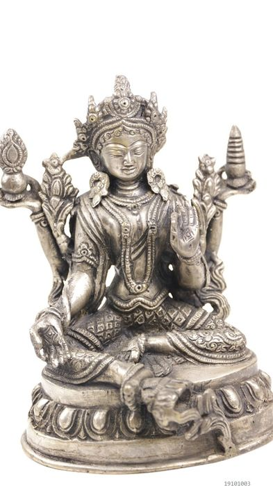 Old image green Tara - White Metal - Tibet - Late 20th century