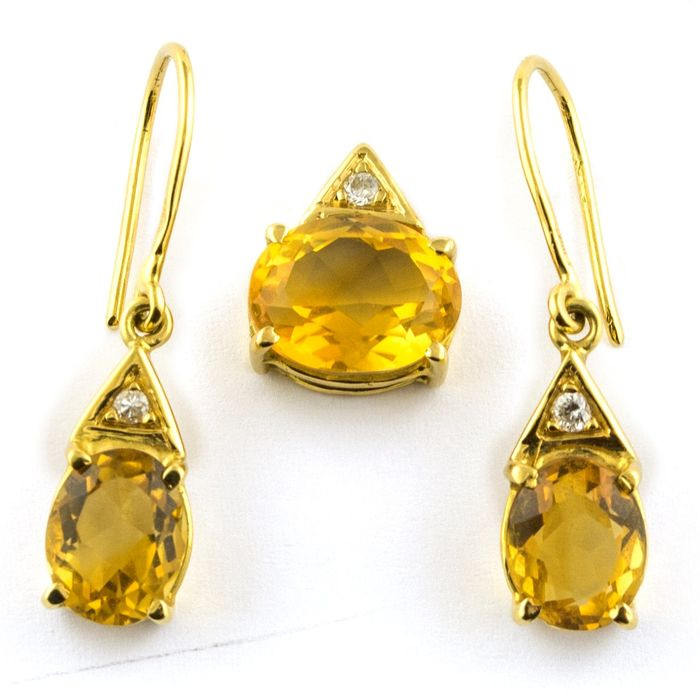 Citrine & Diamond Trilogy Set - 18 kt. Yellow gold - Earrings, Pendant Citrine - Diamonds