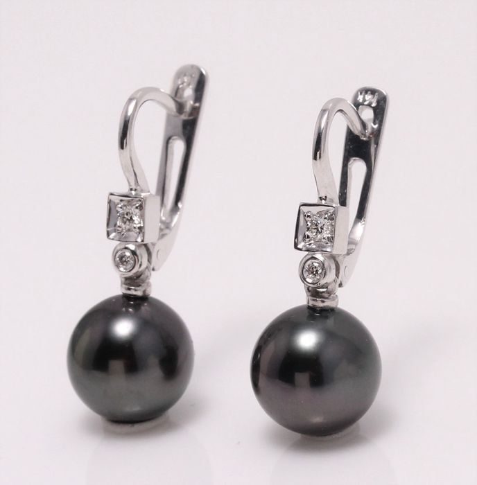 no reserve - 14 kt. White Gold- 9x10mm Round Tahiti Pearls - Earrings - 0.07 ct