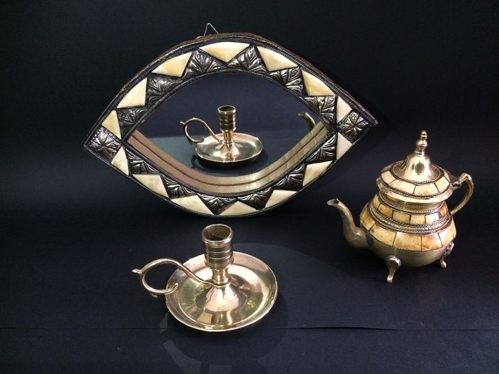 Handmade mirror, small teapot and candlestick - Bone, Copper, Glass, Wood