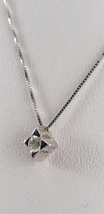 Miluna - 18 kt. White gold - Necklace with pendant - 0.14 ct Diamond