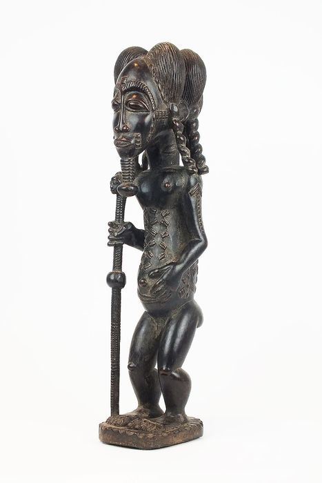 Figure - Wood - Exceptional Baule Male Figure - Baoulé - Ivory Coast