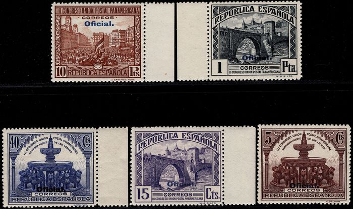 Espanha 1931 - Pan-American. 'Oficial'. Complete set with colour shift. - Edifil 620hcc/629hcc