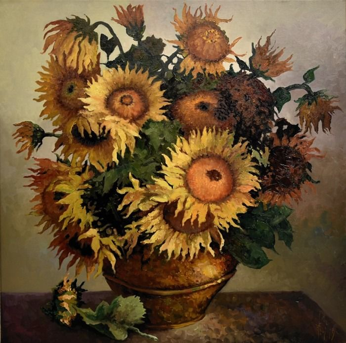 Jack Lacky -  Old sunflowers in a vase