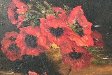 Jacques-Henry Delpy (1877-1957) - Gold vase of poppies