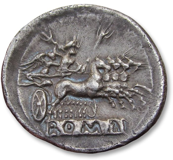 República Romana - Anonymous issues. Large 25mm AR Quadrigatus / Didrachm - Rome, 225-212 B.C. - Plata