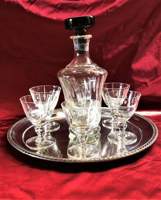Magnificent liqueur service from the 40s of the famous Galbiati silverware in Milan. (8) - Sheffield and handmade glass