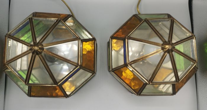 Pair of ceiling lamps, or bronze ceiling with crystals.