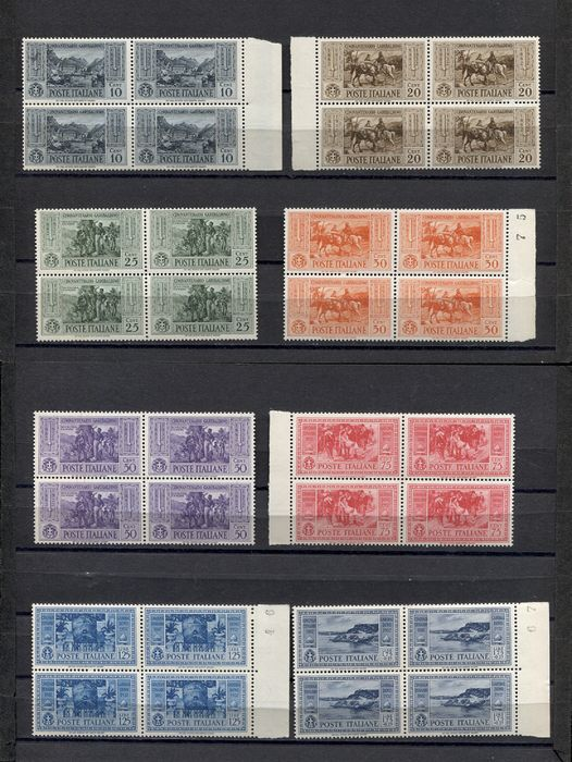 Italy Kingdom 1932 - Fiftieth anniversary of Giuseppe Garibaldi's death, regular mail in block of four, new and intact - Sassone N. 315/324