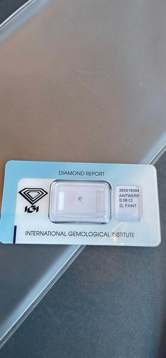 Diamant - 0.08 ct - Brillant - G, faint pink - Non applicable