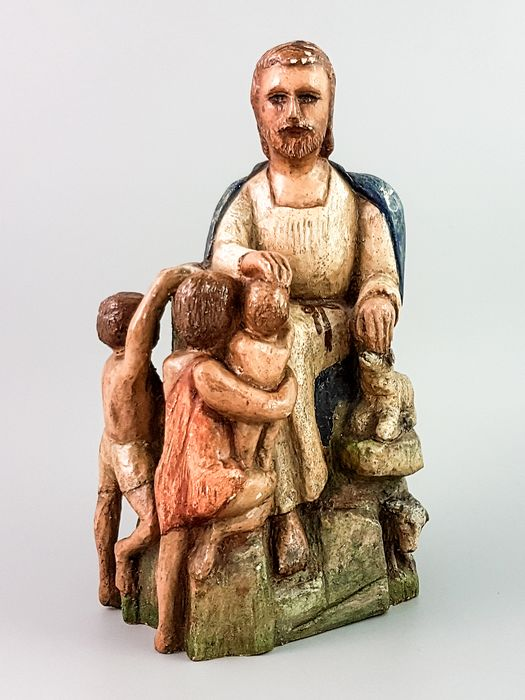 Figure, Figurine(s), Seating group (1) - Medieval Style - Wood-Limewood