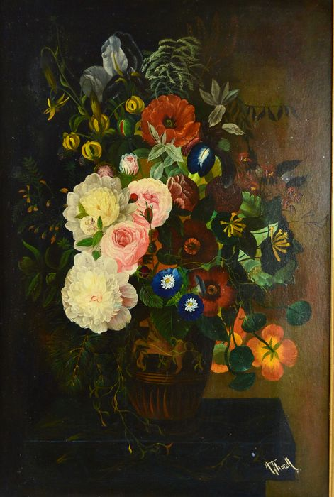 A Thorell. (20th century) - A still life of flowers on a ledge.