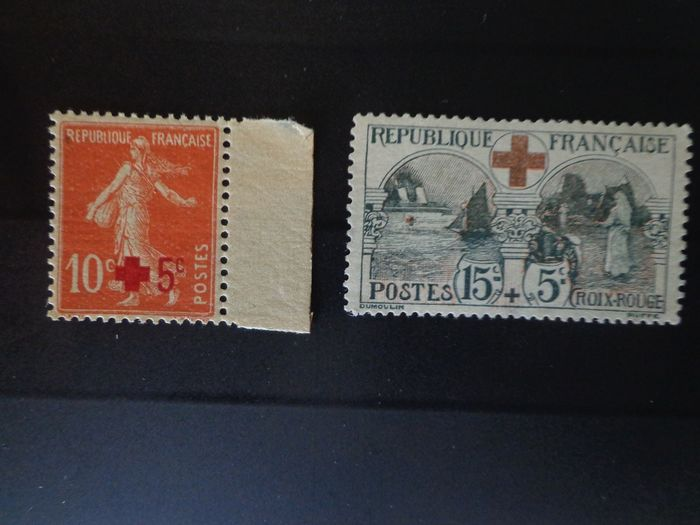 Frankreich 1914 - For the benefit of the Red Cross, mint** stamps, without hinge - Yvert n°146 & n°156