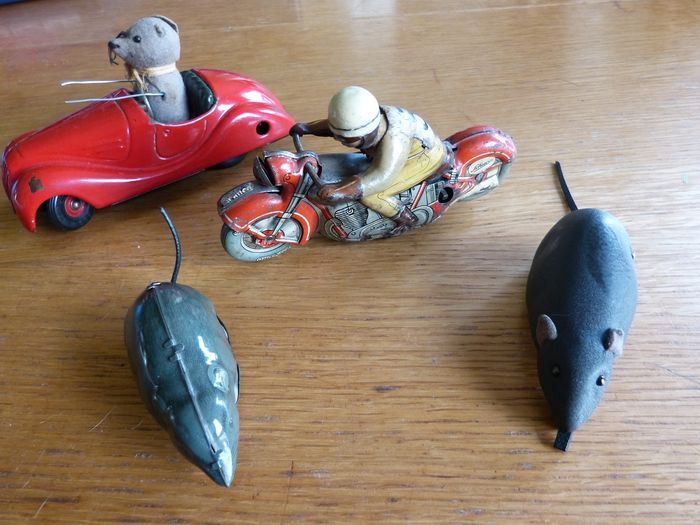 Schuco, Lehmann - car, motorcycle and 2 mice - 1950-1959 - Germany