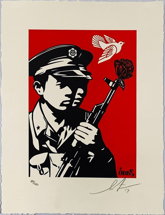 Shepard Fairey (OBEY) - 'Chinese Soldiers Letterpress'