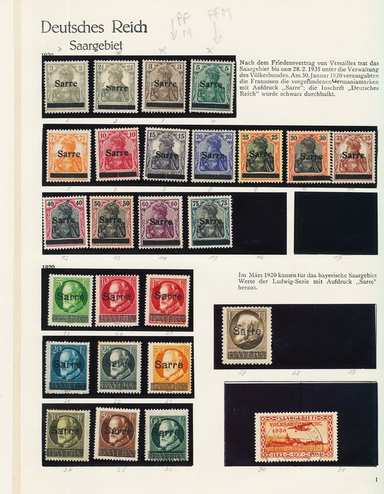 Territory of the Saar Basin 1920/1935 - Collection on album pages and stock cards