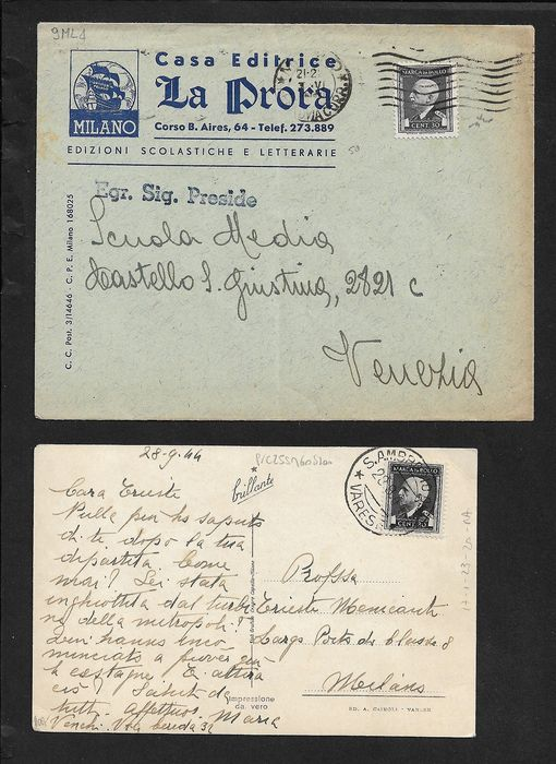 Italy Kingdom - Lot of 6 postal items stamped with revenue stamps in emergency use.
