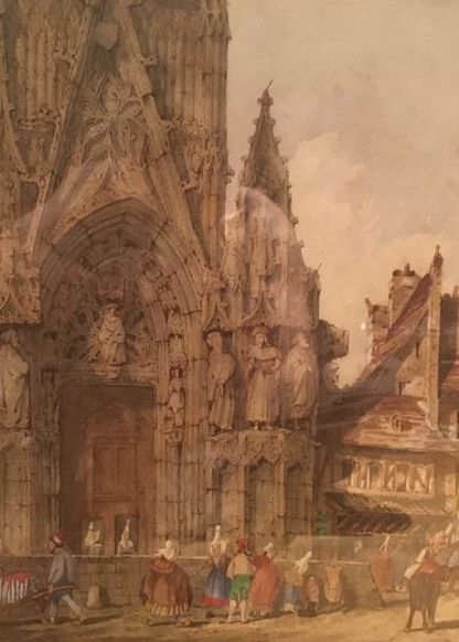 William Frome Smallwood (1806-1834) - View outside Rouen Cathederal