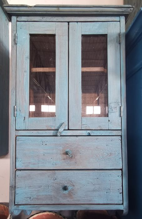 Furniture, Light blue wooden cabinet with two drawers with wooden knobs - Wood