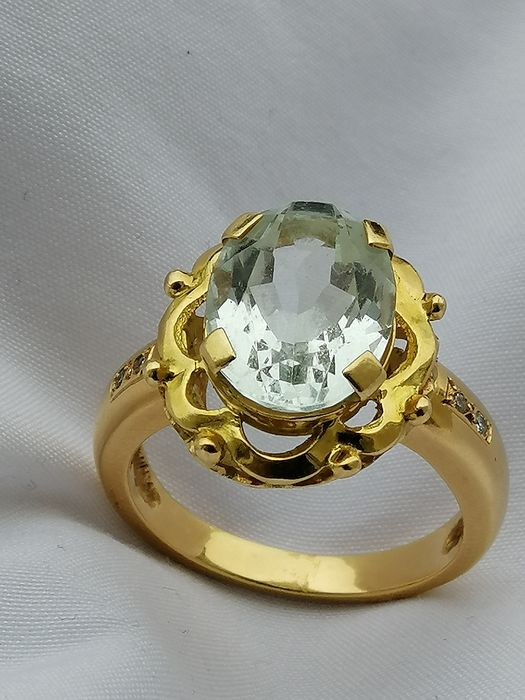 18 kt. Yellow gold - Ring - 10.00 ct Aquamarine - Aquamarines