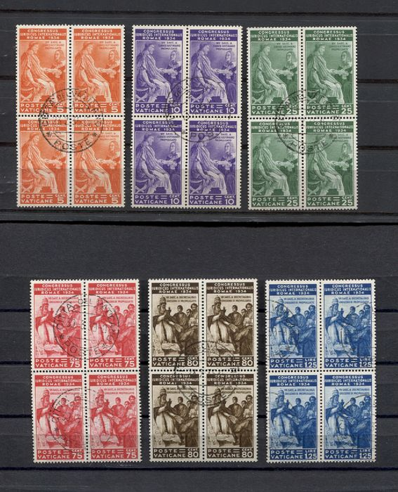 Vatican City 1935 - Juridical Congress complete set in cancelled block of four - Sassone 41/46