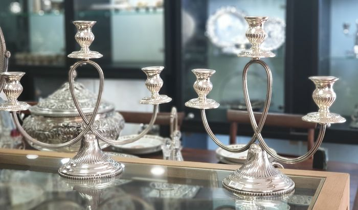 A pair of three-light candelabra - .925 silver - Portugal - mid 20th century