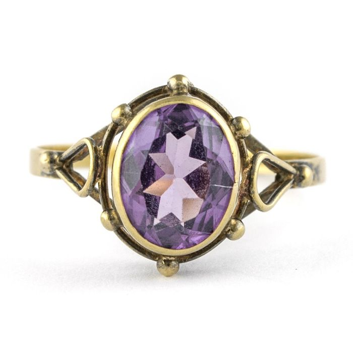 Delicate Authentic Antique - 18 kt. Yellow gold - Ring Amethyst