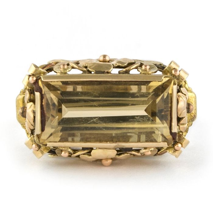Authentic Antique  - 14 kt. Yellow gold - Ring Smoked Topaz