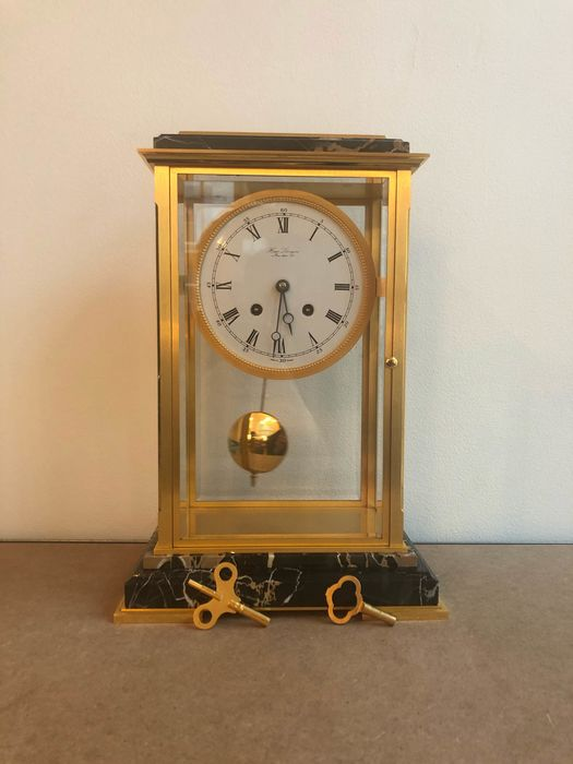 Carriage clock - Marble, gold plated - 19th century