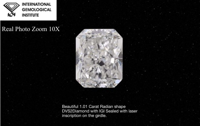 1 pcs Diamant - 1.00 ct - Radiant - D (incolore) - VS2