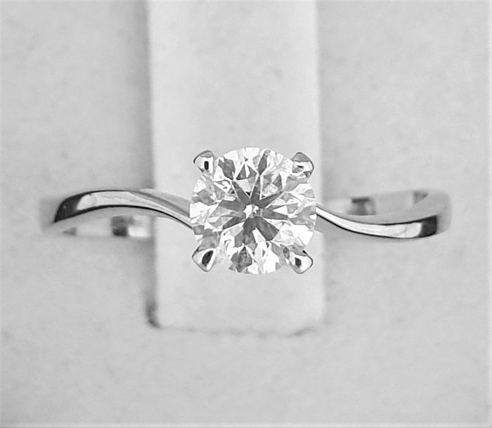 14 kt. White gold - Ring - Clarity enhanced 0.51 ct Diamond - D/SI1 - NO RESERVE PRICE -