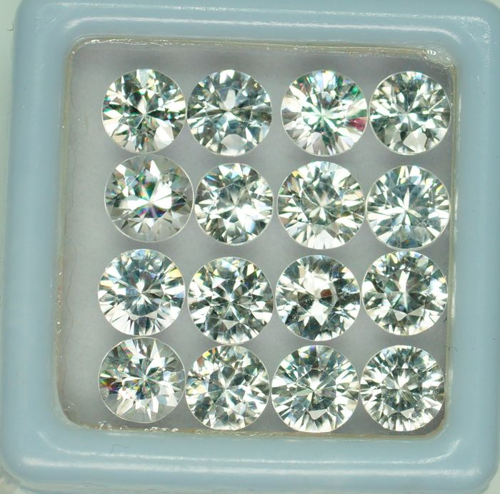 16 pcs Wit Zirkoon - 11.88 ct