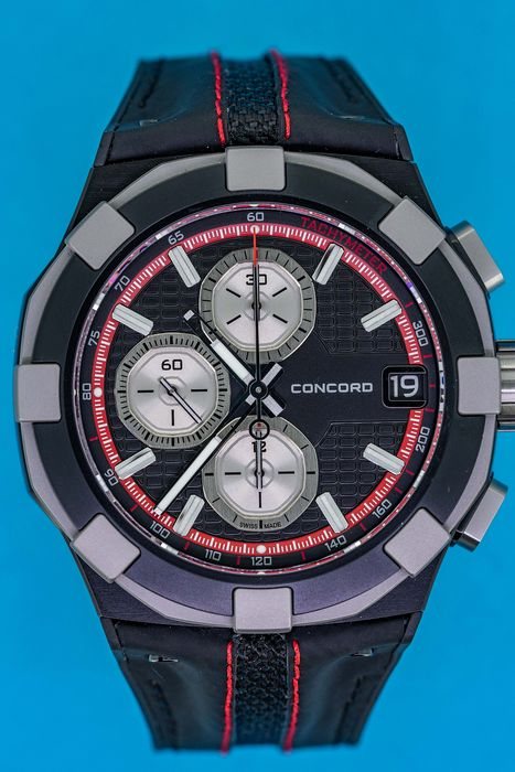 Concord - C1 Automatic Chronograph Titanium Black and Red - 0320228 - Men - BRAND NEW