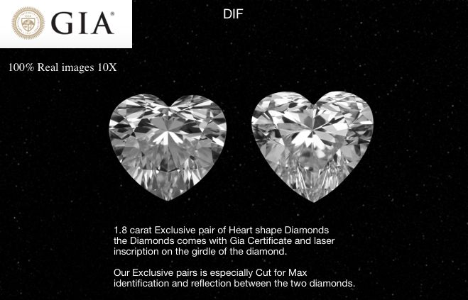 2 pcs Diamonds - 1.81 ct - Heart, EX-EX-Ideal Cut -DIF Pair - D (colourless) - IF (flawless), LC (loupe clean)